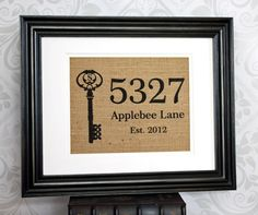 Items similar to Personalized Housewarming Gift on Burlap ~ Home Address Sign with Monogram Key on Etsy Craft Gifts, Diy Gifts, Personalized Housewarming Gifts, Housewarming Party, House Address Sign, Real Estate Gifts, Burlap Crafts, New Home Gifts, Creative Gifts