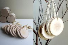 18 Totally Unique Memorial Service Guest Book Ideas - birch wood ornament tags.