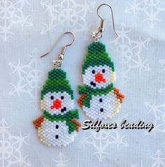 http://www.threadabead.com/3557/1/Snowman-in-Bobble-Hat-Earring-Bead-Pattern http://www.threadabead.com/3557/1/Snowman-in-Bobble-Hat-...