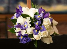 My Wedding Bouquet: White Blizzard Rose, Purple Dutch Iris, and Paper Whites with green foliage.