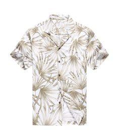 54d51142429 Made in Hawaii Men Hawaiian Aloha Shirt in White with Grey Leaf