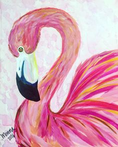 Flamingo Painting, Flamingo Art, Flamingo Tattoo, Pink Flamingos, Diy Y Manualidades, Learn To Paint, Beach Art, Bird Art, Painting Inspiration