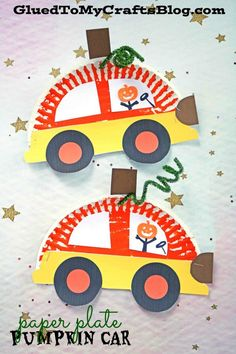 We are dreaming of pumpkins and cars clashing together for our latest Paper Plate Pumpkin Car kid craft tutorial! Easy Fall Crafts, Halloween Crafts For Kids, Paper Crafts For Kids, Crafts For Kids To Make, Craft Activities For Kids, Preschool Crafts, Art For Kids, Car Crafts, Classroom Crafts