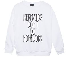 Mermaids Dont Do Homework Sweater Jumper Womens Ladies Fun Tumblr Hipster Swag Grunge Kale Punk Retr ($14) found on Polyvore featuring tops, sweaters, black, sweatshirts, women's clothing, punk tops, jumpers sweaters, black star sweater, black jumper and star jumper