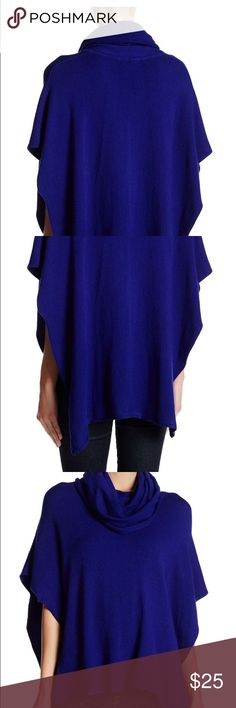 Handkerchief hem poncho royal blue NWT S/M PRICE FIRM- NWT royal blue handkerchief hem poncho - approx. 12in. At shortest length, 30in. At longest length. - model is 5'9 bust: 34; w 23in: hips 34in. 54 cotton; 41 acrylic; 5 angora.  Brand: woven Heart Nordstrom Sweaters Shrugs & Ponchos