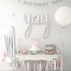 "script YAY silver 45"" balloon, birthday decoration, engagement decoration, photo prop"