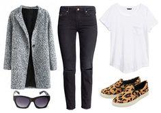 Gray coat, white tee, black jeans, leopard flats/sneakers