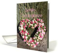 Italian Sympathy card Sentite Condoglianze - Pink heart rose bouquet near tree card