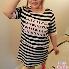 Plus Size Letter Printing Stripes Dress Free Ship SP140852