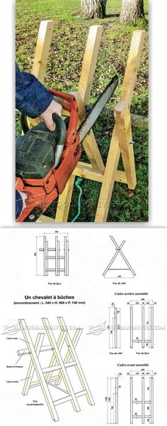 DIY Log Saw Horse - Outdoor Plans and Projects - Woodwork, Woodworking, Woodworking Plans, Woodworking Projects Woodworking Projects Diy, Diy Wood Projects, Outdoor Projects, Woodworking Plans, Firewood Shed, Firewood Storage, Log Saw, Wood Burner, Wood Cutting