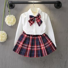 Girls Clothing Sets Preppy Style plaid shirt blouse for school girls White blouse Bow + Red Plaid Skirt 2 Pcs Suits Kids Clothes Cheap Girls Clothes, Kids Outfits Girls, Girl Outfits, Girls Dresses, Plaid Mini Skirt, Plaid Skirts, Pleated Skirt, Plaid Dress, Tutu Skirts