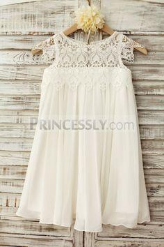 09223caa88 Boho Beach Lace Cap Sleeves Ivory Chiffon Flower Girl Dress