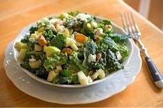 Kale Waldorf Salad from The Fountain Avenue Kitchen via thefoodiephysician: 'Hearty and satisfying, this new take on Waldorf salad is a terrific vegetarian main dish yet pairs well with almost any protein. The dressing for this salad is clever, blending sweet and savory whole foods into a delicious, creamy dressing that pairs beautifully with the bitter crunch of kale and sweet bite of apple.' It's great for lunch, too! #Salad #Waldorf_Salad #Kale #The_Fountain_Avenue_Kitchen…