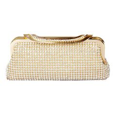 "ECOSUSI Ladies Clutches Purses Crystal Rhinestone Party Evening Bags Gold. Elegant design with sparking beadings, silky satin lining and beautiful metal handle. Approximate Dimensions: Exterior - 8.5"" L X 1.2"" W X 3.8"" H; Handle Drop - 7""; Long Chain Strap - 47"" L; Interior Pocket - 4"" L X 2.5"" H. The luxurious and spacious satin lined interior provides plenty of room for your credit card, cellphone, ID, lipstick, and other small essentials. Carry this charming evening bag as a clutch…"