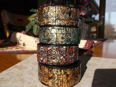 Mosaic metallic bangles by Lori Von der Puetten