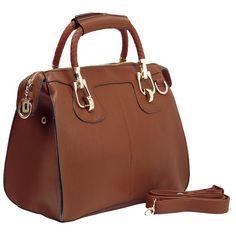 MG Collection MARISSA Brown Top Double Handle Doctor Style Handbag