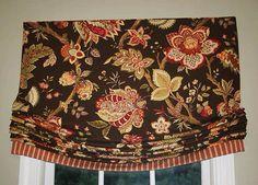 Custom Roman Shade Window Treatment in Ikat and Geometric Fabric