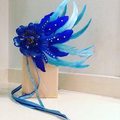 Feather Headband. blue feather Headdress rave by JrPastiesLove