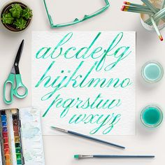 Green Mint Watercolor Alphabet -  http://etsy.me/2cAr7h5 This listing is for 26 pieces of high quality green mint watercolor digital letters and 10 numbers.