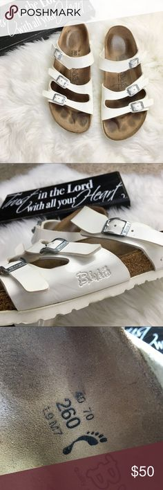 White Birkenstock strap Sandals Good used condition, size 9, Smoke free Home 🏡 Birkenstock Shoes Sandals