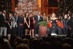 (L-R) Dwayne The Rock Johnson, Christina Perri, Aloe Blacc, Darius Rucker, Malia Obama, Sasha Obama,... - Kevin Mazur/WireImage