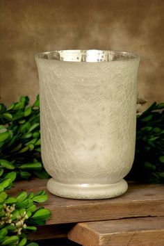 "Mercury Glass Hurricane Vase Frosted 6in $9.99 - 6"" tall"