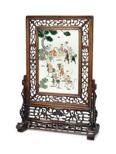 A FAMILLE ROSE 'IMMORTALS' TABLE SCREEN Price Realized £4,000 Set Currency ($6,040)