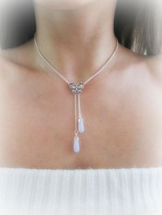 Blue chalcedony necklace stone drop lariat by MalinaCapricciosa
