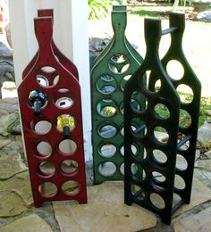 Wooden Wine Rack - Boho Chic - Holds 11 Bottles - Handcrafted - Tall. $145,00, via Etsy.
