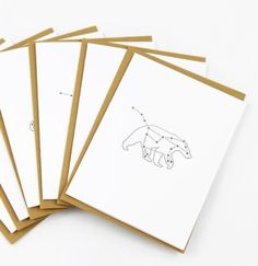 This card set includes quirky illustrations of the Leo and Ursa Major constellations. Set of 6 $18 www.mooreaseal.com