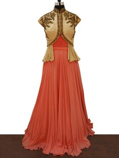 Peach and Cream Georgette Gown with Zardosi Work