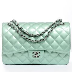 Chanel Mint Green Quilted Patent Leather Classic Jumbo 2.55 Double Flap Bag