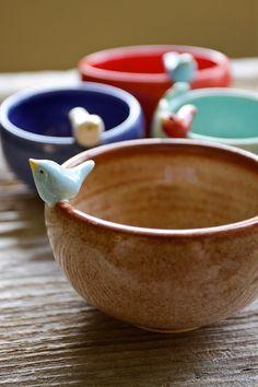 Sweet Little Blue Bird on a Tiny Shino Bowl