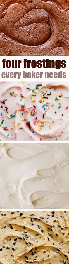 Four amazing frostings you don't want to miss! Every baker needs these recipes in their recipe box!
