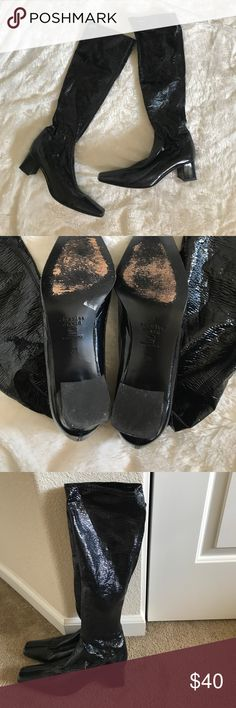 Charles David Black Boots Charles David Shiny Black Heeled Boots  Size 39 Made in Italy Charles David Shoes Heeled Boots
