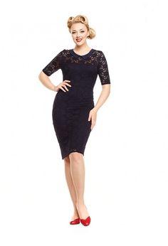 Šaty Lindy Bop Valentine Navy Nádherné šaty z limitované edice anglických dílen označené Made in Britain, garantující vysokou kvalitu zpracování i původ tohoto modelu. Šaty v tmavě modré barvě se hodí na svatby i jiné slavnostní příležitosti, využít je můžete jako koktejlky či malé večerní. Velmi decentní šaty z příjemného skvěle padnoucího materiálu - vrchní jemná krajková vrstva a spodní hladká a pružná podšívka. Krátký krajkový rukáv, decentní výstřih opatřený malým límečkem, vzadu jeden…