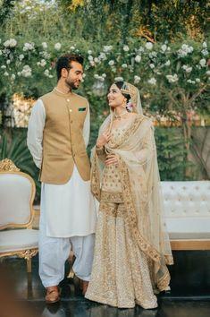 Couple Wedding Dress, Pakistani Wedding Outfits, Pakistani Bridal Dresses, Pakistani Wedding Dresses, Bridal Outfits, Bridal Lehenga, Indian Outfits, Wedding Hijab, Punjabi Wedding Suit