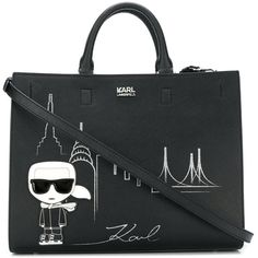 Karl Lagerfeld NYC tote (2040255 PYG) ❤ liked on Polyvore featuring bags, handbags, tote bags, black, tote bag purse, karl lagerfeld purse, pu handbag, karl lagerfeld and handbags totes
