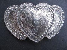 Western Triple Hearts Girly Flower Antique Silver Color Belt Buckle
