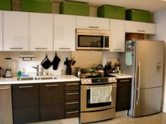 Like the upper white cabinets and the lower dark cabinets!