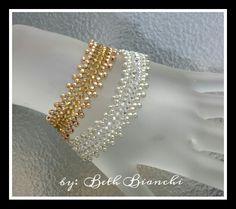 8° seedbead, 2 tone bracelet #beadingbabesofdurham #bethbianchi #beadrock #beadclasses #takeaclass  Beading Babes of Durham