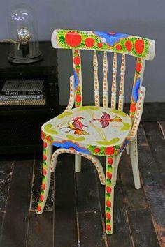 Bunte Holzstühle szék színes otthonunk bemalte stühle stuhl und möbel