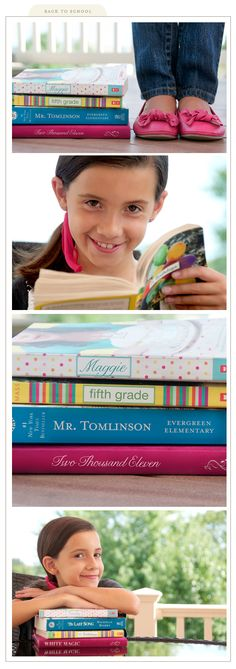 This is a cute idea for a first day of school photo.  Cover the spine of a couple of books with her name on one, the grade she's in, and her teachers name on another.  Next, stack them up and take a picture of her reading behind them.