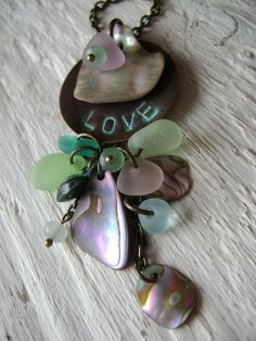 Love You Bunches... Natural Sea Glass & Abalone Shell by beachglow