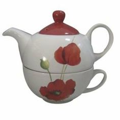 Amazon.com: TEA FOR ONE WHITE RED POPPY TEAPOT & CUP: Home & Kitchen