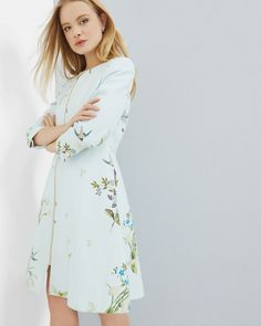 Spring Meadow collarless coat - Baby Blue | Jackets & Coats | Ted Baker UK