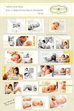 Baby Album, Yellow and Grey 8.5 x 11 Baby Photo Book/Album Templates* Instant Download*