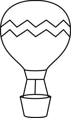 Black and White Striped Hot Air Balloon Clip Art - Black and White Striped Hot Air Balloon Image Balloon Crafts Preschool, Hot Air Balloon Craft For Kids, Hot Air Balloon Classroom Theme, Balloon Template, Art For Kids, Crafts For Kids, Transportation Theme, Air Ballon, Applique Patterns