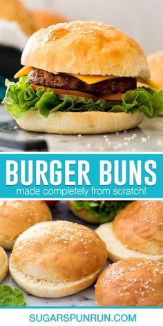 Soft Burger Buns Recipe, Homemade Hamburger Buns, Baked Hamburgers, Homemade Hamburgers, Burger Bread, Homemade Buns, Bread Maker Recipes, Easy Bread, Recipes