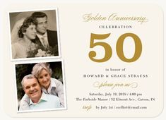 Wedding Anniversary Invitations - Select printing options and begin customizing your card for design 47179 15 Year Wedding Anniversary, 50th Wedding Anniversary Decorations, 50th Anniversary Invitations, Golden Anniversary, Anniversary Parties, Anniversary Ideas, Happy Anniversary, Second Anniversary, Photo Invitations